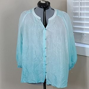 New Directions Curvy Ombre Top Blue Plus Size 2X